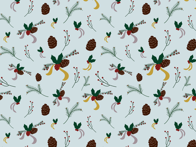 Winter Flora snow christmas decorations silver gold festive twigs branches holiday decor surface pattern winter decor berries winter flora christmas pine cone ribbons mistletoe holly winter illustration pattern