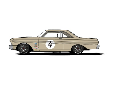1964 Ford Falcon vintage old falcon ford trans-am racecar car livery illustration