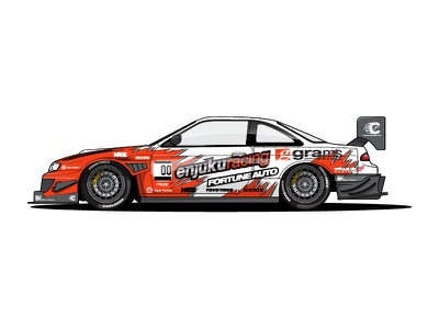 Global Time Attack S14 nissan racecar car livery illustration