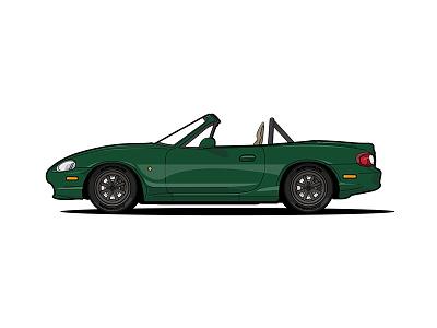 Darin's 1999 Mazda Miata bronze green mazda miata autocross racecar car illustration