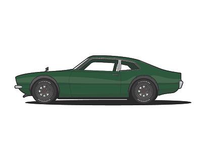1971 Ford Maverick flare green maverick ford car illustration