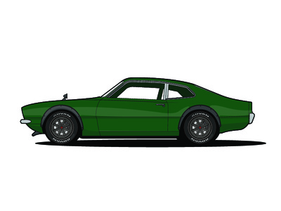 1971 Ford Maverick flare green maverick ford car illustration