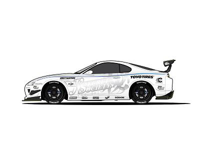 Toyota Supra MK4  blue black white supra toyota racecar car illustration