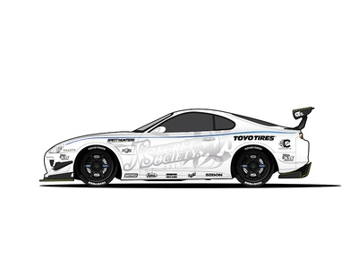 Toyota Supra MK4  blue black white supra toyota racecar car illustration