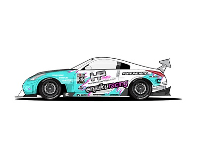 350z Time Attack grey pink teal white 350z nissan racecar car illustration