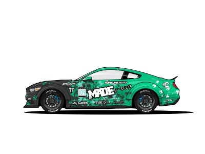 2016 Ford Mustang - Drift Machine sideways drift teal green white mustang ford driftcar racecar car livery illustration