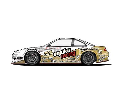 Enjuku Racing S14.3 - Drift Machine driftmachine drift gold white s14 240sx nissan racecar car illustration