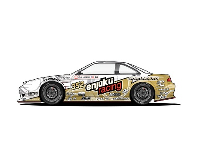Enjuku Racing S14.3 - Drift Machine driftmachine drift gold white s14 240sx nissan racecar car illustration