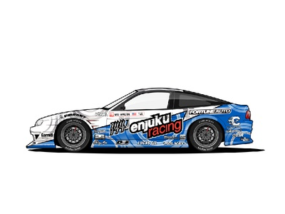 Enjuku Racing S13.4 - Drift Machine driftmachine drift blue white s13 240sx nissan racecar car illustration