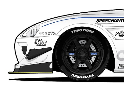 Wheel Close Up clean simple shading silver blue black white supra toyota wheel car illustration