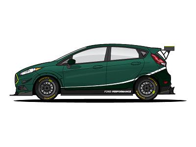 My Fiesta ST black green timeattack racecar fiesta ford illustration