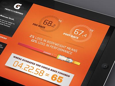 Gatorade interface ui statistics performance slider sports ipad racing