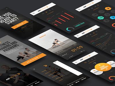 Active App Preview progress badges data visualisation workout exercise mock up app design