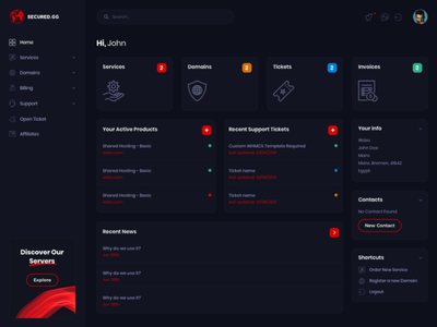 Client Area Template for Secured.gg host hosting ux ui web dashboard template servers game clientarea whmcs