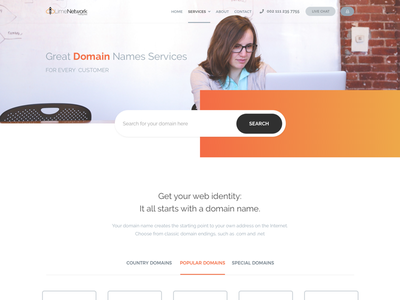 Domains Page creative modern search server host whois hosting domain