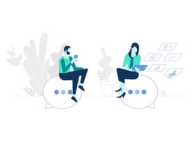 Innovative Tax Relief illustrator vector plants drawing digital minimal art conversation messaging business illustration