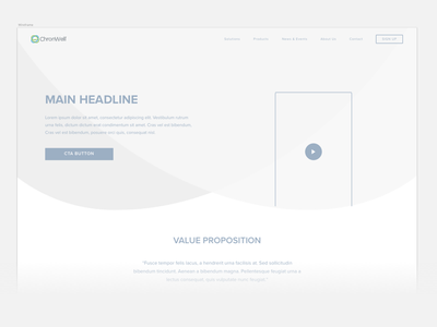 Chronwell Wireframes white space interface ux website video cta white grey low fidelity desktop ui wireframes