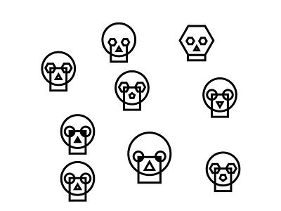 Skulls Exploration graphic punk cypher symbols iconography logo icons shapes simple hexagon square circle skulls skull