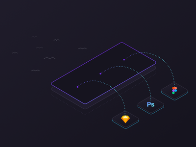 Migrating Your Files onboarding isometric migrate add upload design tool phone prototype ui ux photoshop figma sketch import
