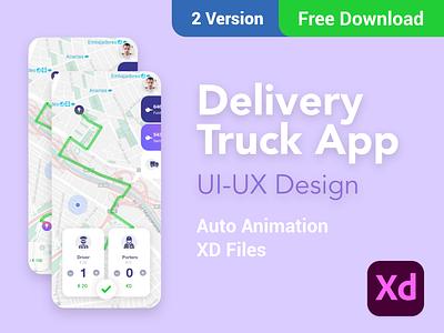 Delivery  Truck App- Free Xd Download adobe xd  app mockup adobe xd illustration ios design ux design ios design app ui design free xd freebie free