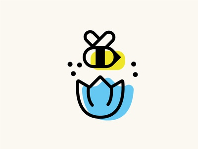 Bee god blu yellow displacement minimal vector icon flower honey hive bee