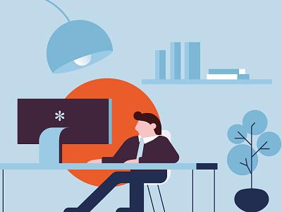Cheapnet - Boss Room eyes vector wireless boss boss room internet provider connection illustration flat th boss