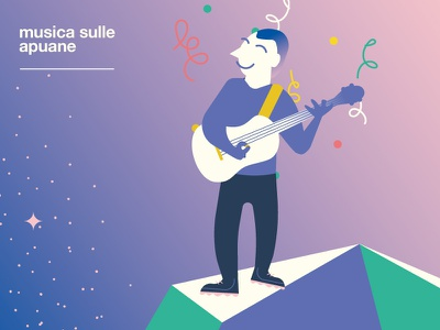 Musica sulle Apuane -  Bassist confetti sky classic bassist bass music character mountains flat smile happy festival