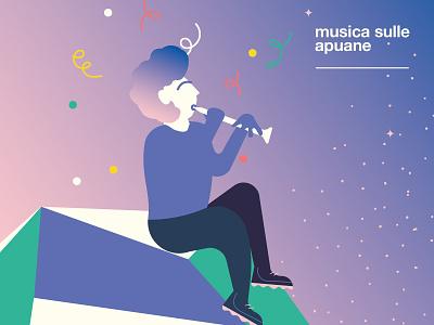 Musica sulle Apuane -  Piper festival happy smile flat mountain character music piper classic sky confetti