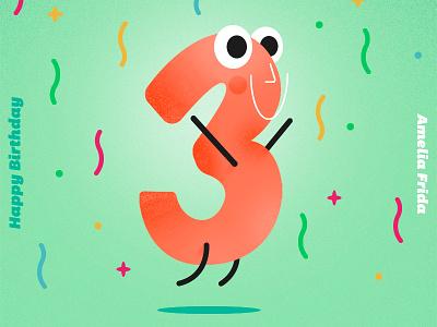 Happy Third Birthday Amelia type design typo daughter three 3 charachter number lettering typographic happy love birthday