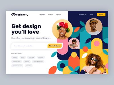 Designory - Designers Directory website uidesign ui header design landingpage landing pattern colors vibrant website design concept