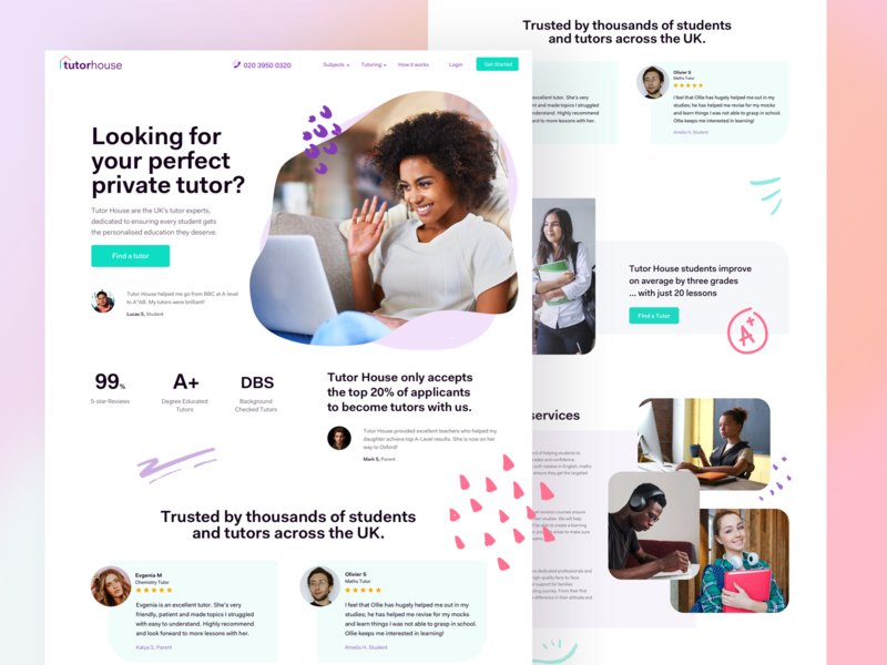 Homepage redesign for tutors website website web remote lessons studying distance student tutor landing design uidesign ui