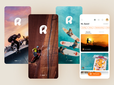 Share your activity orange trends trending application design application yacht surfing climbibg skateboard bright social network social sport travel colors uidesign app design ui concept