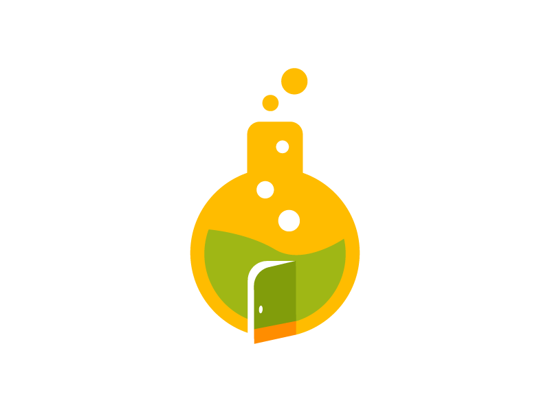 Welcome To Lab Icon identity branding brand green yellow icon logo lab science beaker welcome