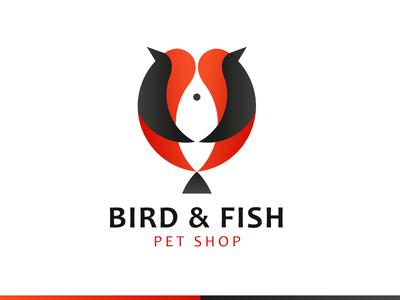 Bird & Fish space negative animal shop pet fish bird