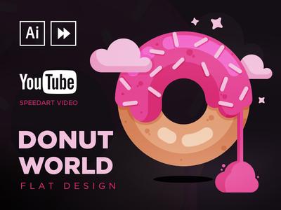 Donut World SpeedArt process tutorial video youtube design flat donuts