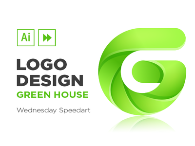 Green House leaf video speedart logo house green