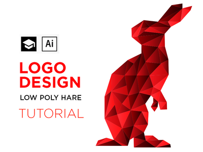 Red Rabbit red polygonal polygon poly low rabbit hare