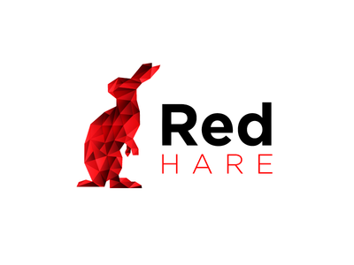 Red Hare red polygonal polygon poly low rabbit hare