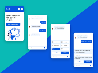 Chatbot for dental clinic ui clinic treatment mobile design mobile appointment chatbot ux doctor dental