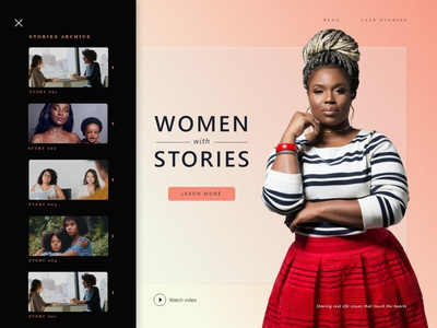 women with stories app web ui  ux