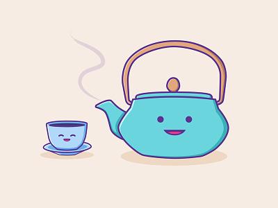 Tea Time japanese tea pot tea cup kawaii illustration character design