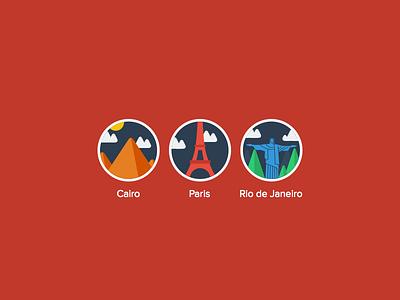 Flat design cities