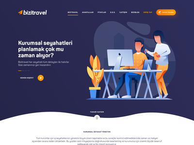 Business Travel Service - Landing Page flat 2.0 air plane business travel travel landing page