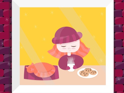 winter evening sweet personage illustrator minimal graphic design flat vector illustration design