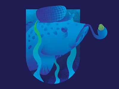 The Old Grouper beer sea hops illustration fish grouper