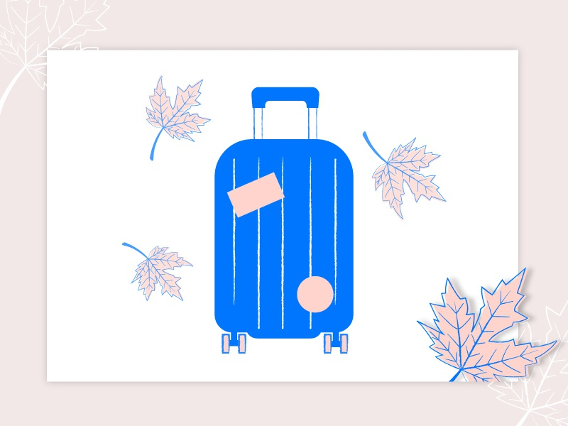Traveling around the world shadows leaf maple travel suitcase pink blue lines illustrator illustration