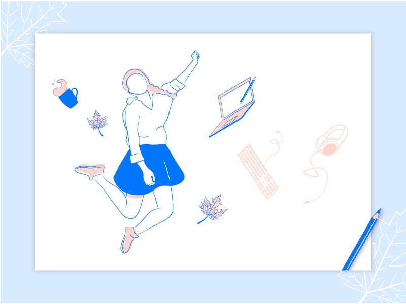 Happy at work leaf work woman girl character person drawing white pink blue illustrator vector illustration lines