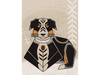 A Dog Named Frank haida vector art doggy dog australian shepherd folk art folkart vector illustration illustrator