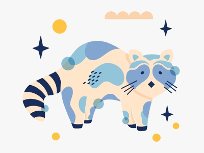 Raccoon magical raccoon cute animals animal pattern abstract shape procreate illustration digital art design
