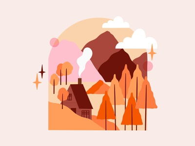 Autumn autumn orange fall colors moutains landscape nature shape procreate illustration